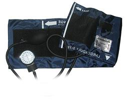 NEW LARGE ADULT BLOOD PRESSURE BP CUFF SET W/ CASE NAVY BLUE