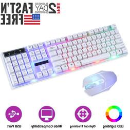 Computer Gaming RGB Keyboard And Mouse RGB LED Colorful Back
