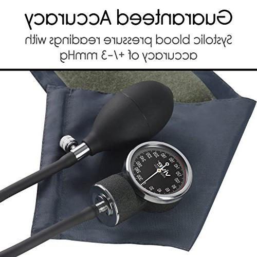 Vive Aneroid Sphygmomanometer with Manual Blood Pressure Upper Cuff - - Meter Kit Handheld Bulb Dial and Reader