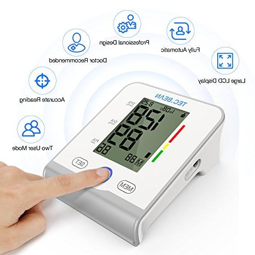 TEC.BEAN Arm Monitor Accurate, Approved - Large Screen Display - Irregular Heartbeat Hypertension Detector