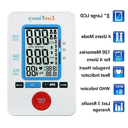 LotFancy Machine BP Monitor Cuff, Detector,Accurate Portable Device Use, 4 User FDA Approved