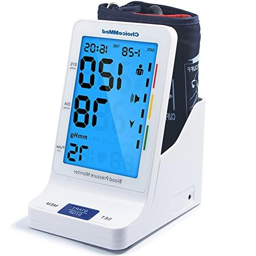 CHOICEMMED with Talking - Blood Pressure Large Display BP Monitor Machine BP Blood Kit Batteries Included