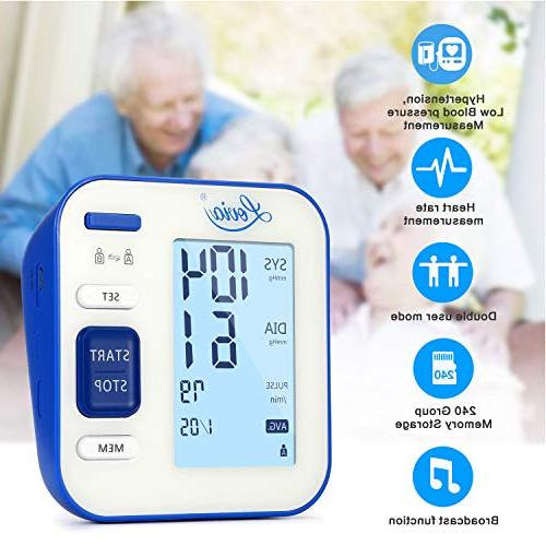 Blood Pressure Monitor, Automatic Upper Arm BP Monitor Pressure Rate for Home Use, * 120 Memory Large Display, FDA/CE Certified