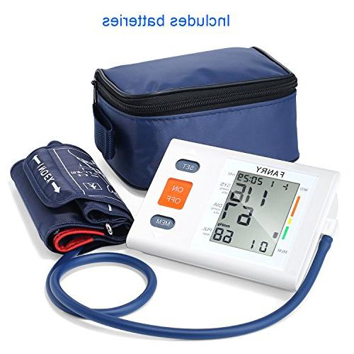 Automatic Digital Blood Cuff Upper Arm, Batteries Included Accurate, Portable and for Home Use