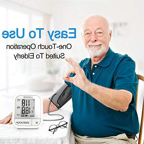 Blood Pressure Clinically Accurate Reading, Memory Automatic Upper Arm BP with Display & Buttons, Range Cuff, Touch Operation Home Use