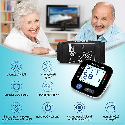 Blood Pressure Upper Arm Digital Automatic Large BP Monitor for Home Use, * 90 Memories, Storage