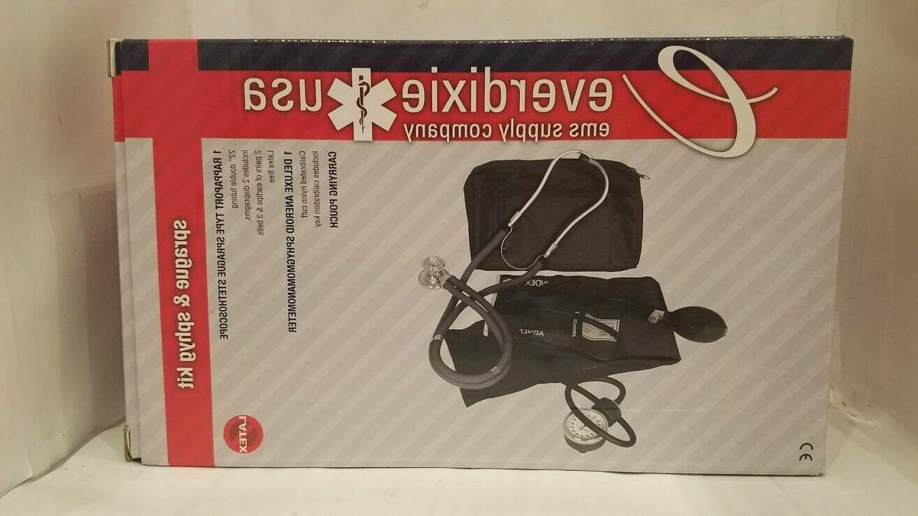 Dixie EMS Blood Pressure and Sprague Stethoscope Kit Black