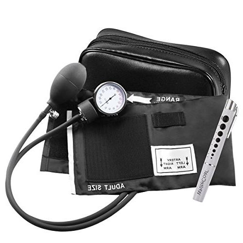 White Coat Deluxe Sphygmomanometer Professional Blood Monitor with Black Case