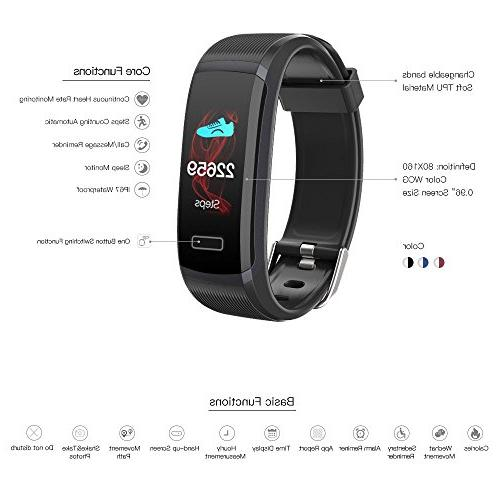 Tracker with Monitor,IP67 HD Color Step Counter, Calorie Counter, Pedometer Smart Bracelet for