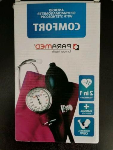 Manual Blood PARAMED Sphygmomanometer & Stethoscope PINK