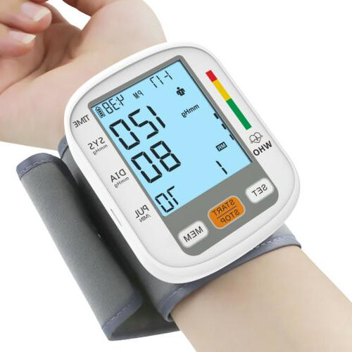 Portable Auto Wrist Blood Pressure Monitor Machine BP Cuff Backlight Meter