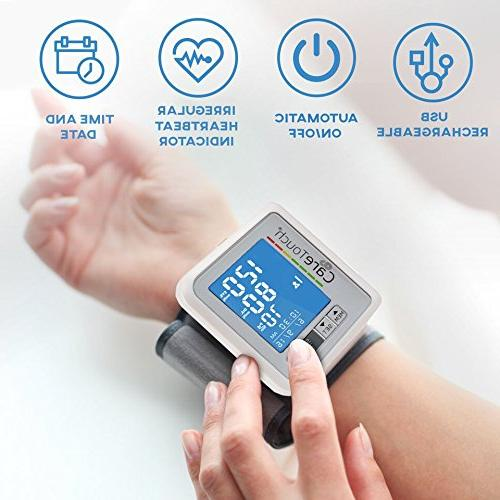 Wrist Blood by Touch with USB Charging Digital Machine with back-light, adjustable irregular heartbeat indicator