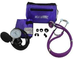 Purple Deluxe Aneroid Sphygmomanometer with Stethoscope, Cuf